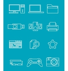 PC line icons vector image vector image