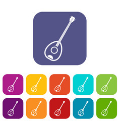 Saz turkish music instrument icons set flat vector