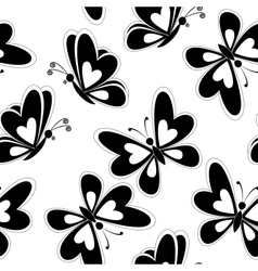 Seamless background butterflies silhouettes vector image vector image