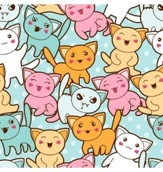 Seamless kawaii cartoon pattern with cute cats vector image