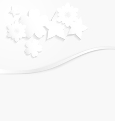 White paper with white flowers and a wave vector image vector image