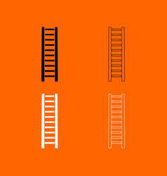 wooden step ladder black and white set icon vector image vector image