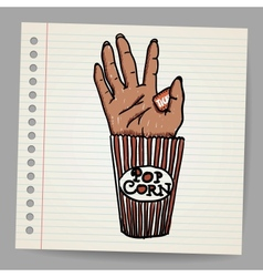 Of a creepy sawn off hand horror movie conceptual vector
