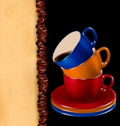 Background with colorful cups of coffee and old vector image