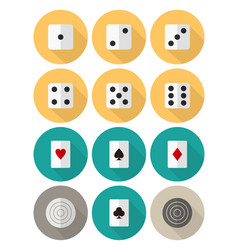 Board and card games flat icon set vector