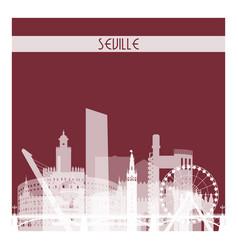 Seville white transparent skyline silhouette vector