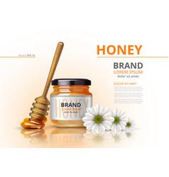 acacia honey jar with wooden dipper vector image