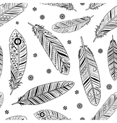 Vintage feathers pattern vector