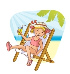 Little girl sitting in chaise-longue on the beach vector