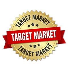 Target market 3d gold badge with red ribbon vector