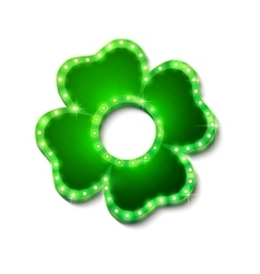 Shine lucky clover with shadow on white background vector