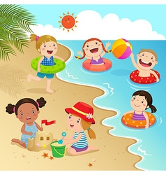 Group of kids having fun on the beach vector