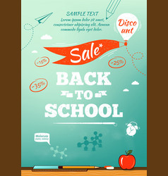 Back to school sale poster vector