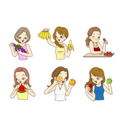 beautiful ladies holding fresh fruits vector image vector image