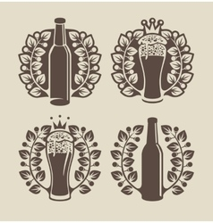 Beer glasses bottle and laurel wreath vector