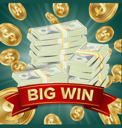 Big winner poster you win falling vector