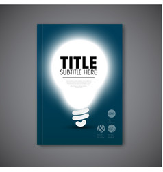 Book cover template with shining bulb vector
