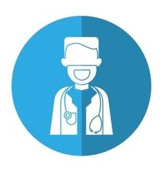 Character doctor beard stethoscope health shadow vector
