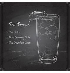 Cocktail Sea Breeze on black board vector image vector image