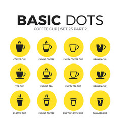 Coffee flat icons set vector