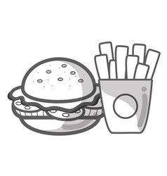 Contour hamburger and fries french food icon vector