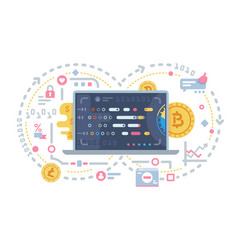 Crypto currency and block chain vector