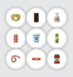 Flat icon meal set of kielbasa spaghetti vector