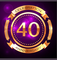 forty years anniversary celebration with golden vector image