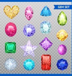 gemstones transparent icon set vector image