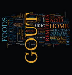 Gout home remedies text background word cloud vector