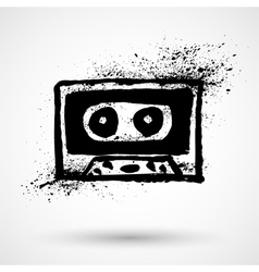 Grunge cassette icon vector image vector image