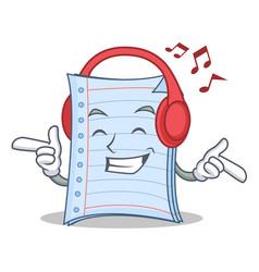 Listening music notebook character cartoon design vector