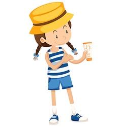 Little girl with sunlotion tube vector