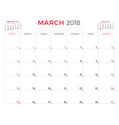 march 2018 calendar planner design template week vector image