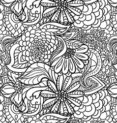 Seamless flower outline pattern vector