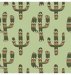 Seamless green background with cactus vector
