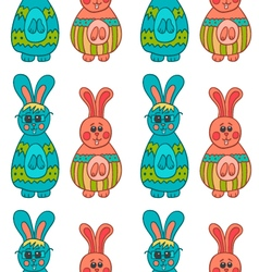 Seamless pattern with easter bunny-11 vector