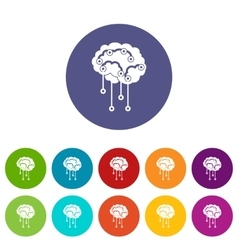 Sensors on human brain set icons vector