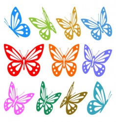set of colorful butterfly vector image vector image