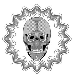 smiling human skull on star shape background vector image