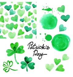 St Patricks day watercolor set vector image