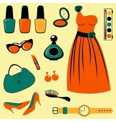 Stylish fashion elements colorful collection vector image vector image