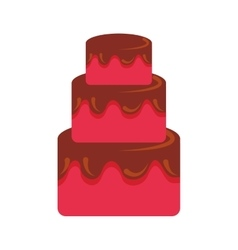 Sweet and delicious birthday cake icon vector