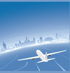 Valencia skyline flight destination vector