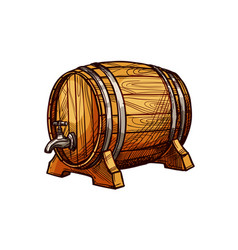 wooden barrel sketch for alcohol drink design vector image