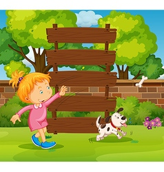 Wooden sign and girl in the park vector image vector image