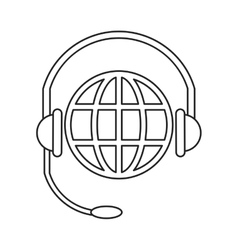 World planet head service communication thin line vector