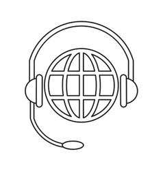 World planet head service communication thin line vector