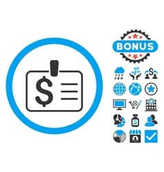 Dollar badge flat icon with bonus vector