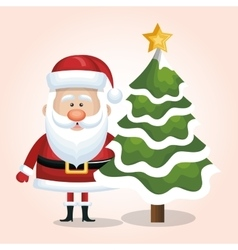 Xmas santa claus with christmas tree snow star vector
